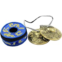 """NHZ Tingsha Tibetan Meditation Bell 2.5"""" Embossed with free case (Brass)"""