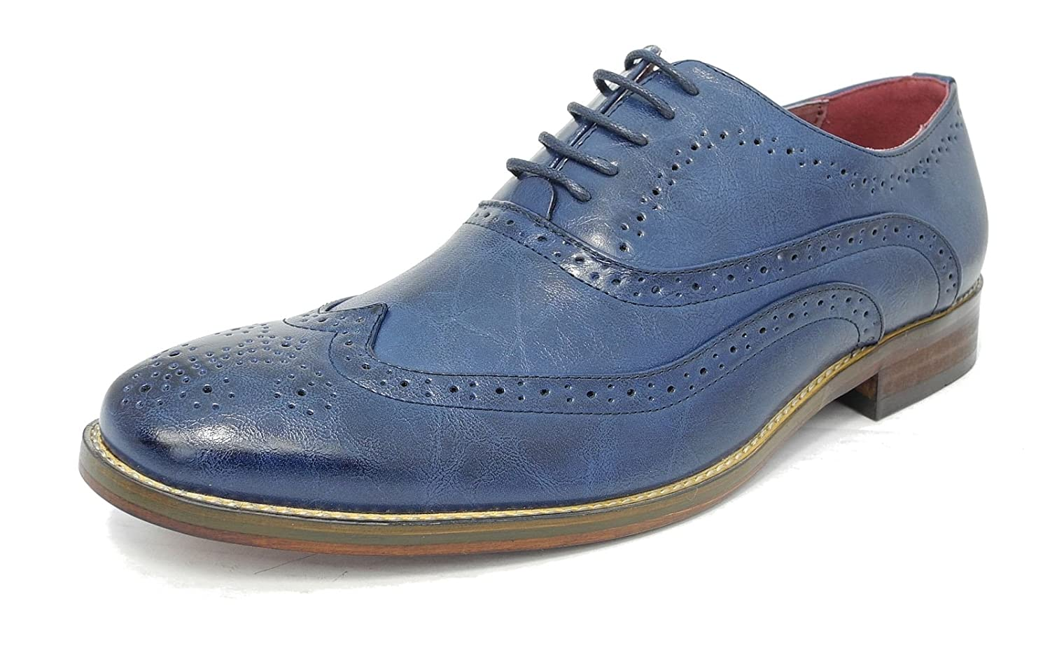 details for shop best sellers crazy price Mens Leather Lined Smart Lace Up Oxford Brogues Shoes Aegean Blue ...