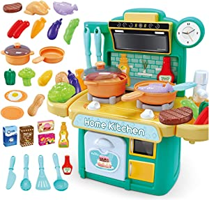 NIWWIN Kids Chef Miniature Cooking Kitchen Plastic Play Set with 26 Accessories with Hob, Colour Changing Toy Food, Water, Light and Sound Features Pretend Toy Fun Kitchen Set for Girls Boys (Green)