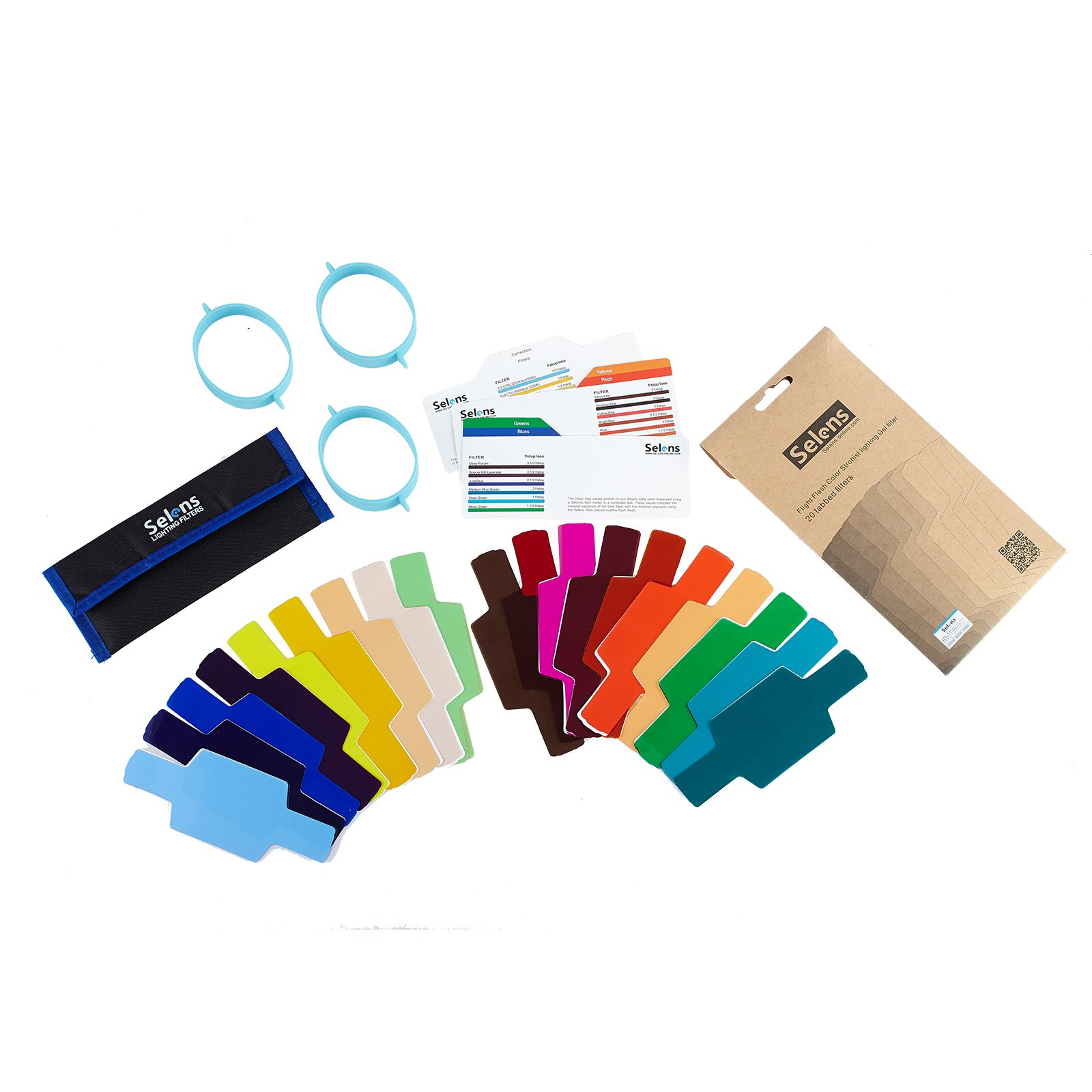 Selens Universal Flash Gels Lighting Filter 20 pcs Combination Kits for Camera Flashlight with 3 Gel-Bands by Selens