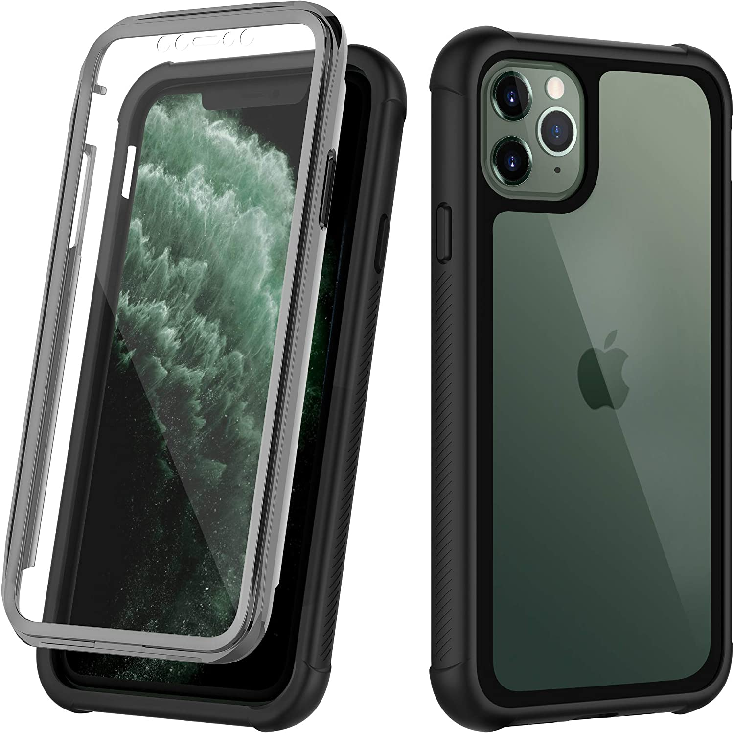 OUNNE iPhone 11 Pro Max Case,Clear Full Body Heavy Duty Protection Case with Built-in Screen Protector Anti-Scratch Shockproof Cover for iPhone 11 Pro Max Cases (2019) 6.5 Inch