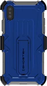 Ghostek Iron Armor Hybrid Case with Screen Protector Designed for iPhone Xs X – Blue