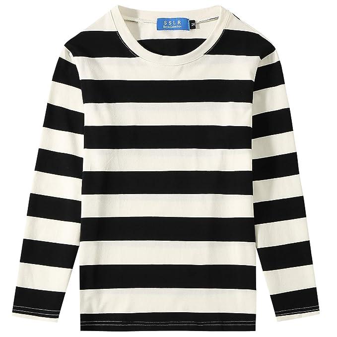 53c649957 SSLR Big Boys' Cotton Crew Neck Casual Long Sleeves Stripe T-Shirt (X