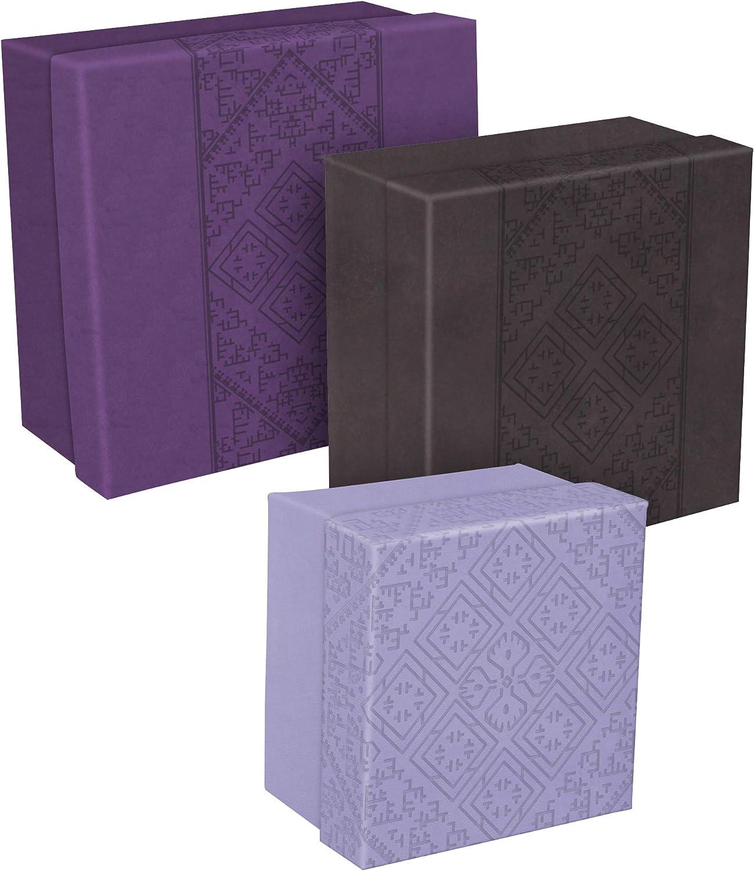 Clairefontaine 83413C - Juego de 3 cajas nido cuadradas Aida de 25 x 25 x 12 cm, 20 x 20 x 11 cm y 16 x 16 x 10 cm, piel sintética, colores surtidos: Amazon.es: Oficina y papelería