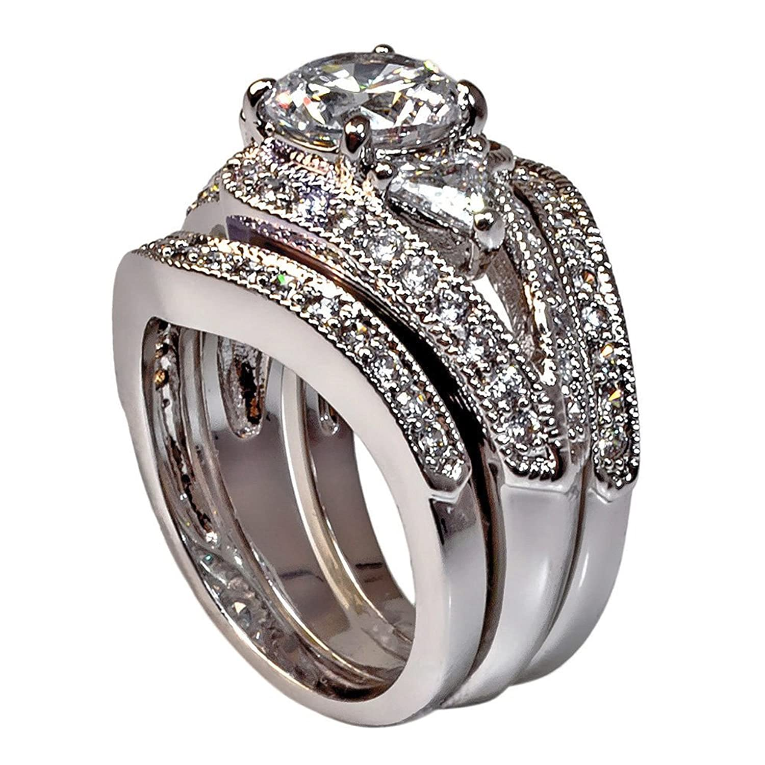 Vintage-style Round-shape and Triangle-shape with Milgrain Edging 3.28 Ct Cubic Zirconia Cz 3 Pc. Bridal Engagement Wedding Ring Set (Center Stone Is 2 Cts)
