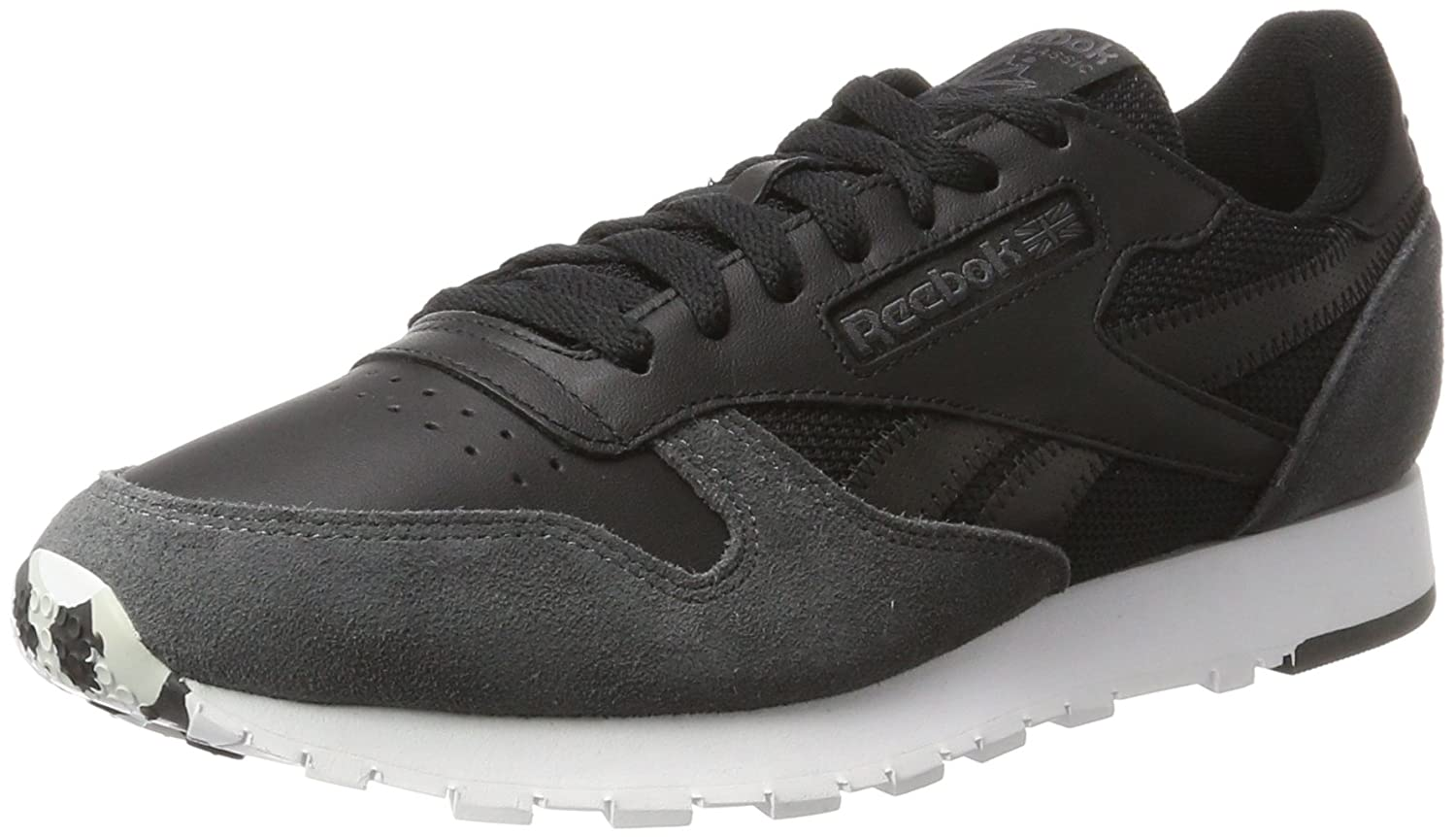 Reebok Herren Classic Leather MO Sneaker  40.5 EU|Schwarz (Black/Coal/White/Skull Grey/Risk Blue)