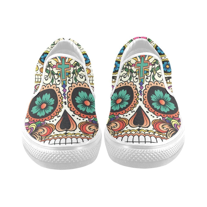 D-Story Custom Flower Suger Skull Women's Canvas Shoes ...