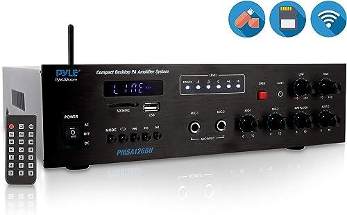 Wireless Bluetooth Public Address Amplifier – 500W Compact Mini Digital Home Power Audio Sound PA Receiver System w 70V 100V Output, Mic Input, Radio, USB, Remote For 4-16ohm Speaker – Pyle PMSA126BU