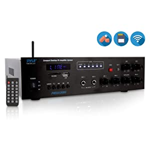 Wireless Bluetooth Public Address Amplifier - 500W Compact Mini Digital Home Power Audio Sound PA Receiver System w/ 70V 100V Output, Mic Input, Radio, USB, Remote For 4-16ohm Speaker - Pyle PMSA126BU