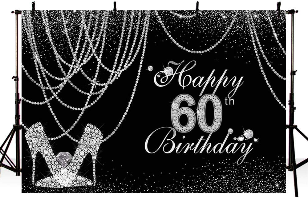 MEHOFOTO 7x5ft Black and Silver Woman Happy 60th Birthday Banner Photo Studio Booth Background Glitter Diamond Pearls High Heels Party Decoration Backdrops for Photography