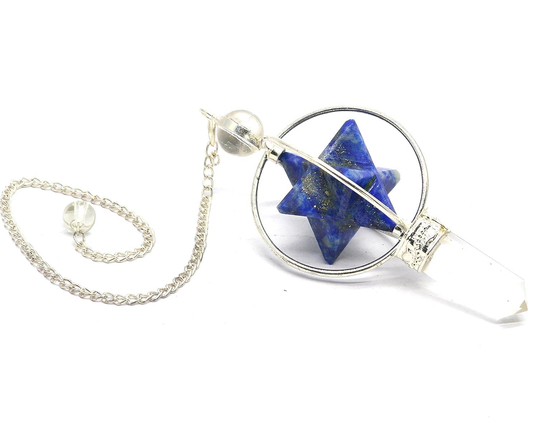 Cristaux de guérison Inde Lapis Merkabah étoile Cœur Cristal Dore Divinatoire de guérison Pendule Healing Crystals India SB010