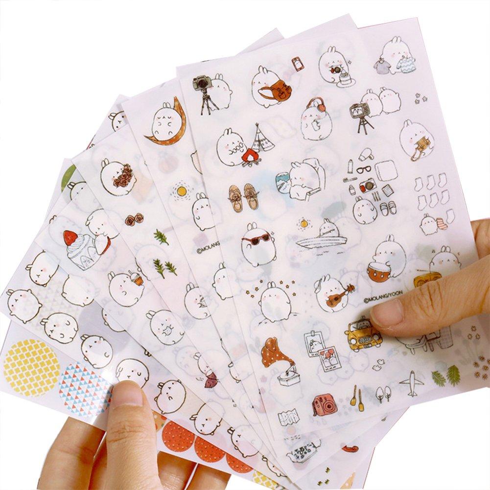 CAOLATOR Tagebuch Aufkleber Dekoration Scrapbooking Deco Kalender Cute Kaninchen Charactor Aufkleber 6 Stü cke (#1)