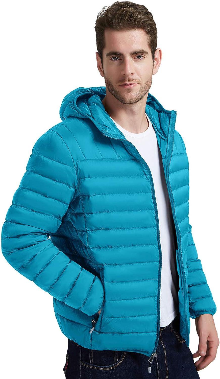 MoFiz Mens Down Jacket Hooded Snow Winter Coat Packable