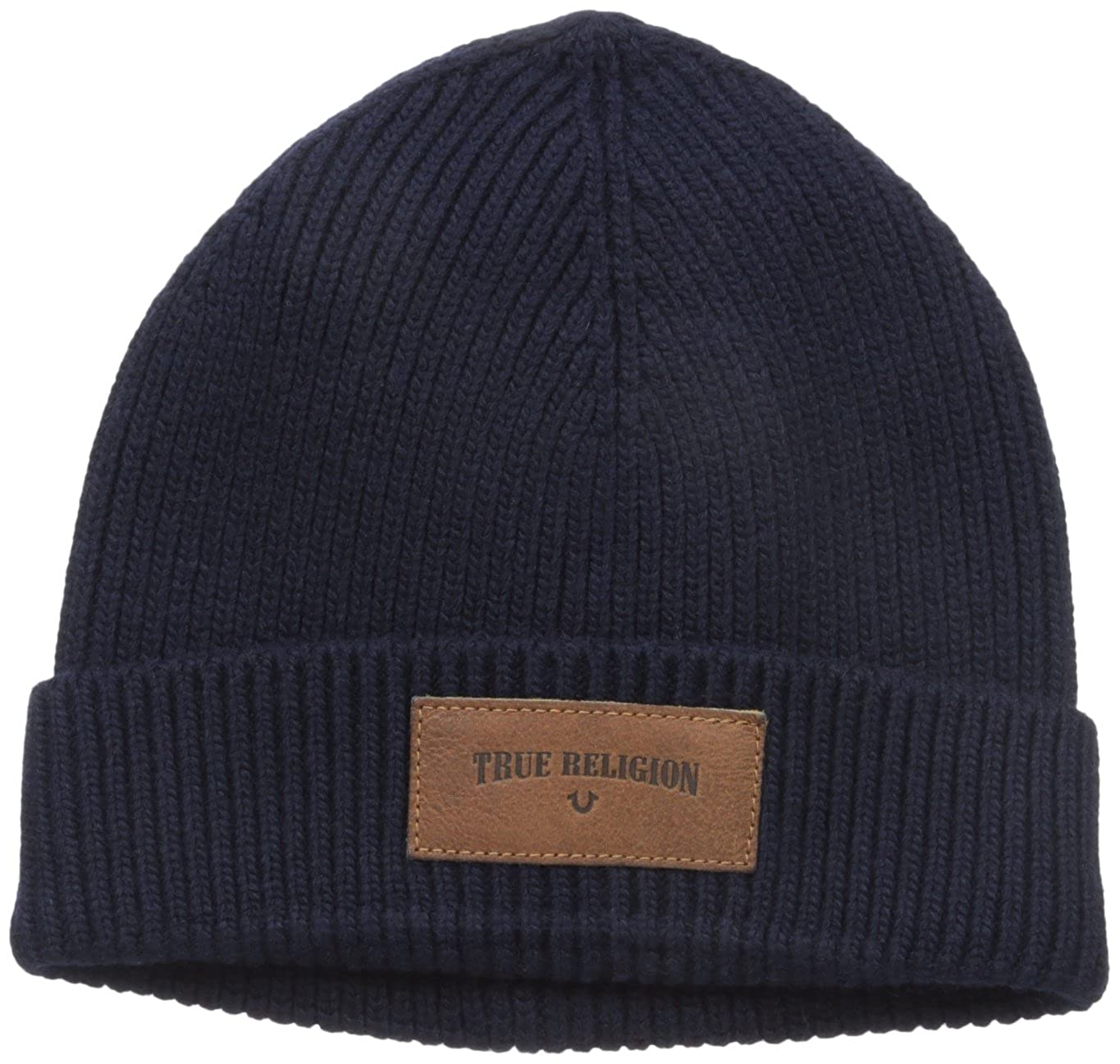 a572b1ed0ae4d Amazon.com  True Religion Men s Ribbed Knit Watchcap with Patch ...