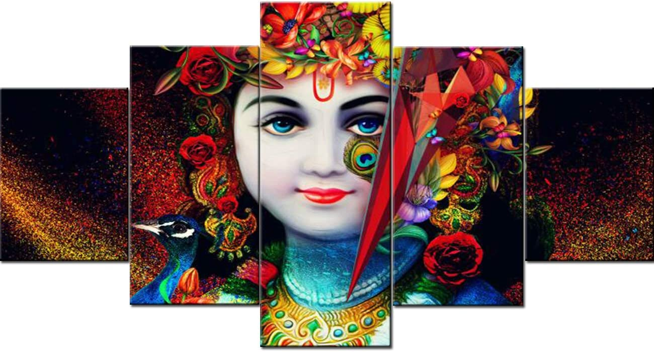 5 Panel Canvas Wall Art Indian Paintings Radha Wall Art Krishna Hinduism Pictures Hindu God Artwork Modern Home Decorations for Living Room Giclee Gallery Wrapped Stretched Ready to Hang(60''Wx32''H)