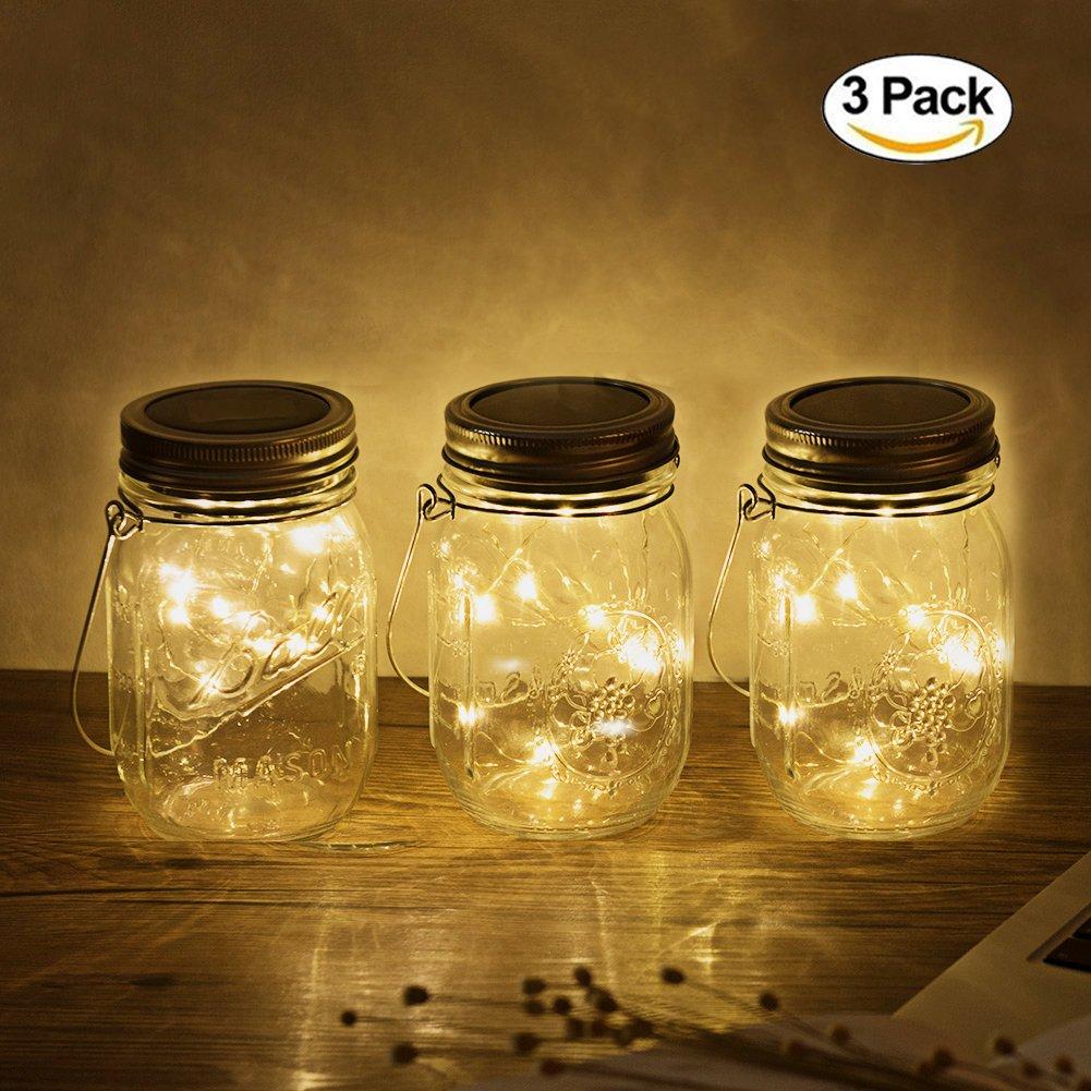 3Pack Mason Jar Licht, 20LED Solar LED Glas Hängeleuchte, Outdoor String Laterne, Dekoration für Zuhause Party Garten Hochzeit (3Pack Warmwhite) [Energieklasse A+++] JDXS