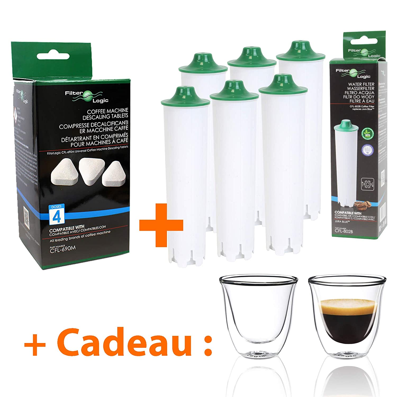 Filtre à eau compatible Jura Blue + Détartrant + Tasses à café offertes Filter Logic