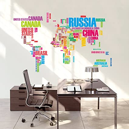 Buy syga large world map original wall stickers wall covering area syga large world map original wall stickers wall covering area 122cm x 74cm gumiabroncs Gallery