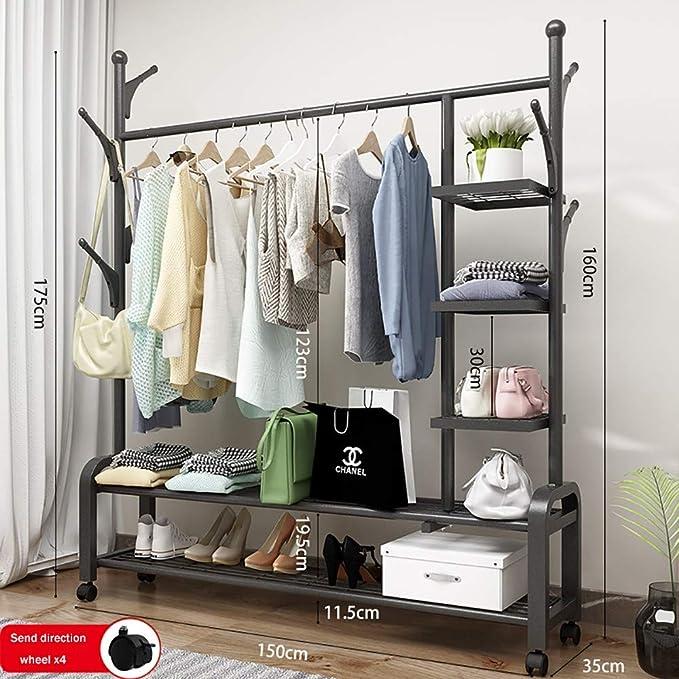 Clothes Storage Rack Holder Marble Base Rubyz Heavy Duty Coat Stand Hanger Umbrella Holder Rotating 15 Hooks For Homes Black Office Entryway Hallway