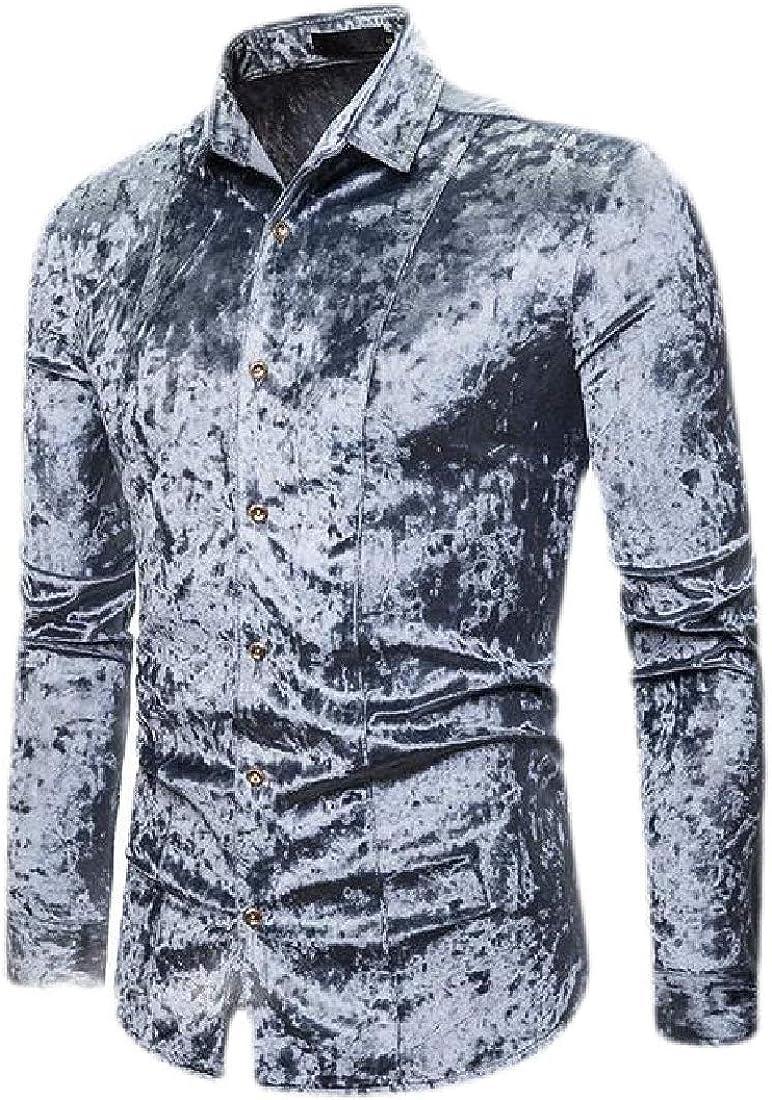 CBTLVSN Men Original Fit Velour Velvet Long Sleeve Button Down Shirt Tops