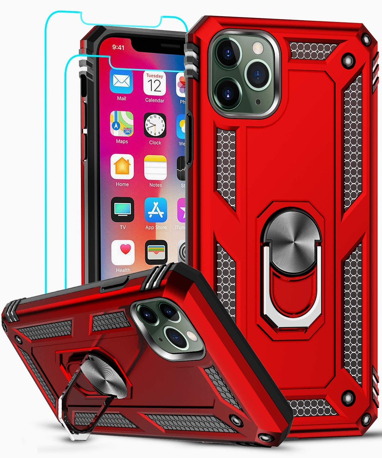 iPhone 11 Pro Max Case, iPhone 11 ProMax Case with Tempered Glass Screen Protector [2 Pack], LeYi [Military Grade] Phone Case Cover with Ring Kickstand for Apple iPhone 11 Pro Max 6.5 inch, Red