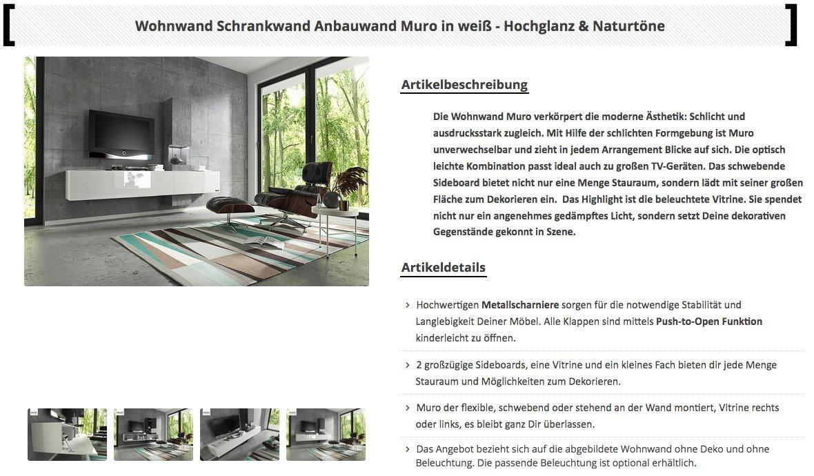Wuun Wohnwand Muro In Weiss Beton Beleuchtung Optional Schrankwand Anbauwand Tv Board Rgb Led Beleuchtung