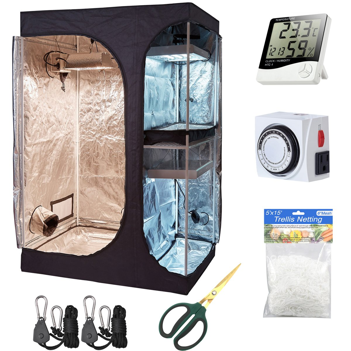 Hydro Plus Grow Tent Kit 48 x36 x72 2-in-1 Indoor Plants Growing Dark Room Non Toxic Hut Hydroponics Growing Setup Accessories 48 x36 x72 Kit