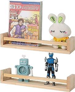 Jorikchuo Nursery Book Shelves, Set of 2 Wood Floating Book Shelves for Kids Room, Kitchen Spice Rack, or Rustic Wall Mounted Shelves for Farmhouse Bathroom Decor (Natural Wood)