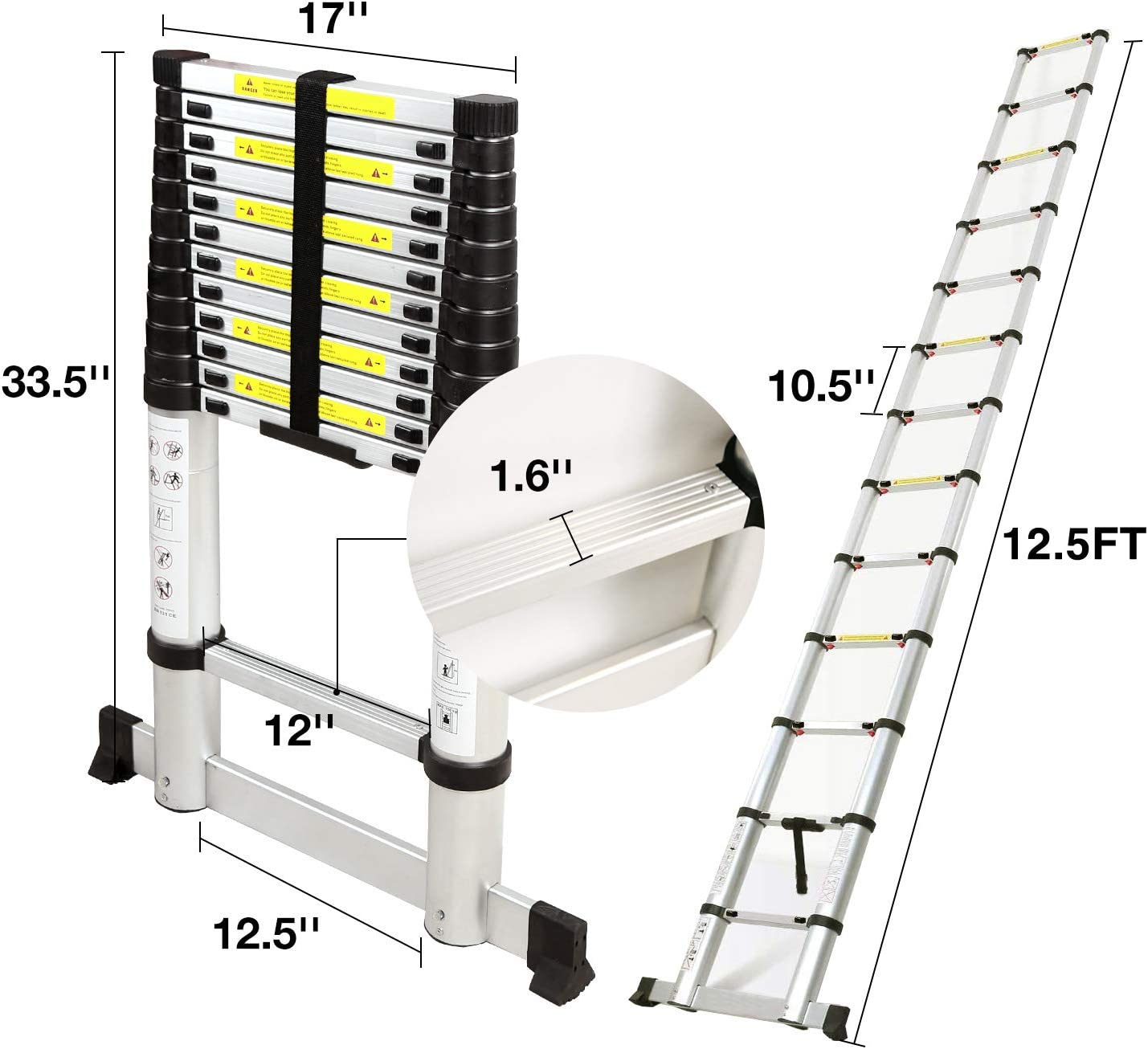 REDCAMP Aluminum Telescoping Ladder 12.5ft with Stabilizer Bar, Folding Telescopic Extension Ladder for RV Home Outdoor Use, Hold 350lbs Capacity - -