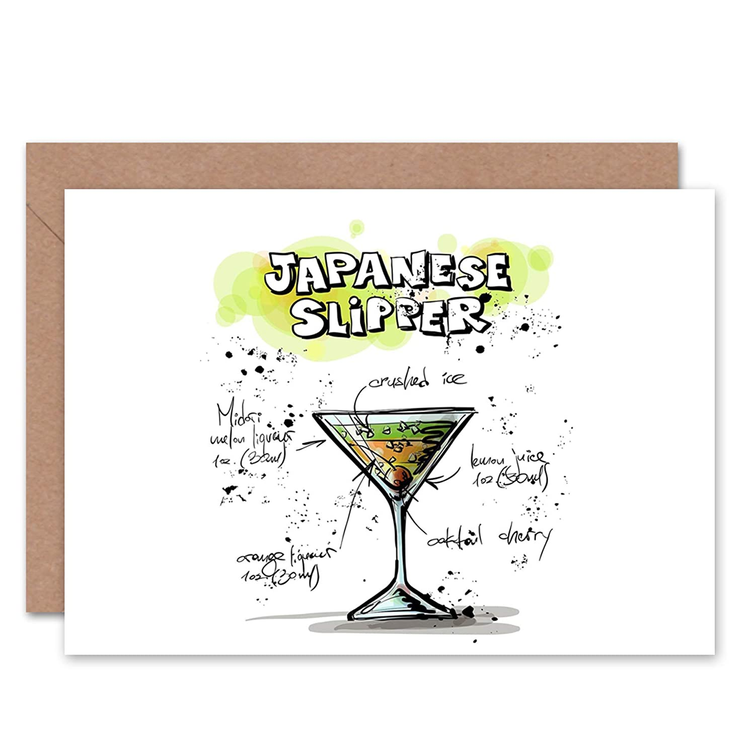 fd6e1968f46ad Amazon.com  Wee Blue Coo NEW JAPANESE SLIPPER COCKTAIL DRINK BLANK  GREETINGS BIRTHDAY CARD ART CL333  Home   Kitchen