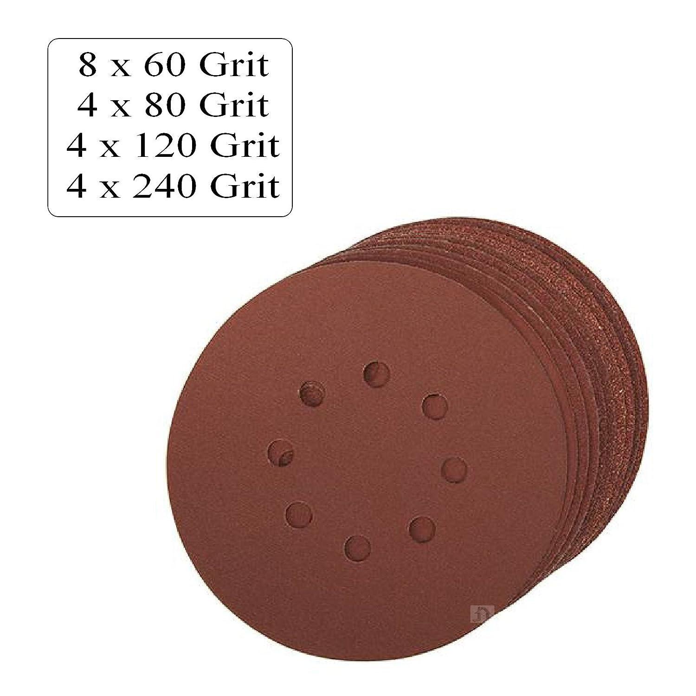"""40 5/"""" Orbital Sander Pads 125mm Punched Sanding Discs 80 240 Grits. 60 120"""