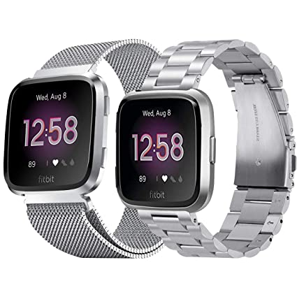Amazon.com: Aresh Compatible Fitbit Versa bandas de acero ...