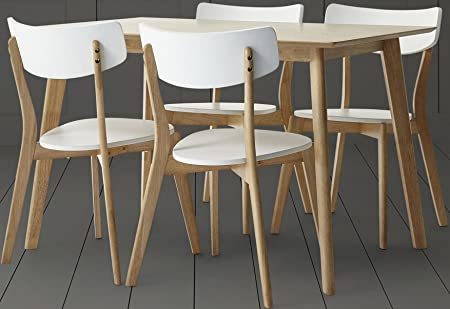 NEW Tesco Charlie Rectangular Oak Effect Dining Table Set With 4 Chairs