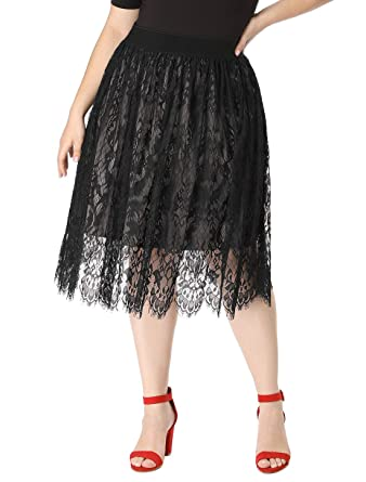2f90c1b50c0 Agnes Orinda Women s Plus Size Knee Length High Waist A-line Flare Lace  Skirt at Amazon Women s Clothing store