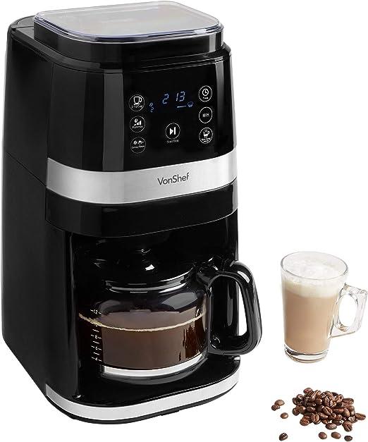 VonShef Cafetera de grano a taza, instantánea digital con opciones ...