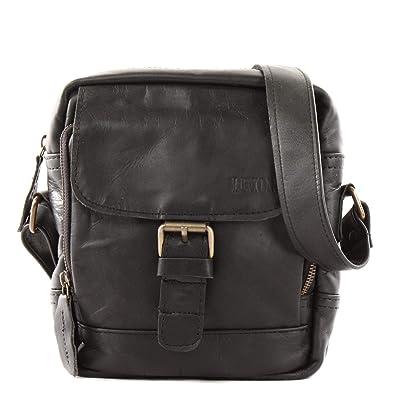 1a7b30753d016 LECONI kleine Umhängetasche Schultertasche für Damen und Herren  Freizeittasche Herrentasche praktische Echtledertasche im Vintage-Look