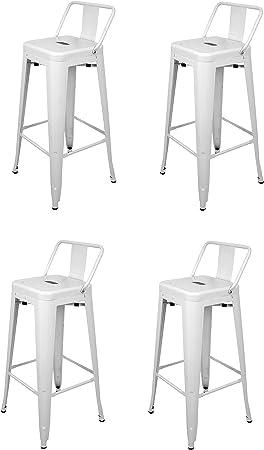 La Silla Española - Pack 4 Taburetes estilo Tolix con respaldo. Color Blanco. Medidas 95x44,5x44,5: Amazon.es: Hogar