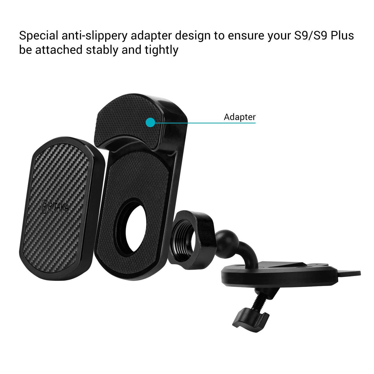 Premium Luxury 360 Degree Rotation Claw Air Vent Car Mount Cell Phone Holder for Galaxy S9//S9 Plus PITAKA Magnetic Mount for S9//S9+