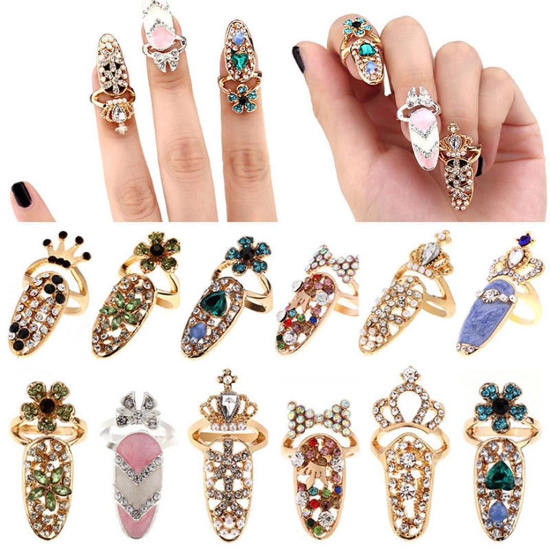hunpta Women Fashion Bowknot Nail Ring Charm Crown Flower Crystal ...