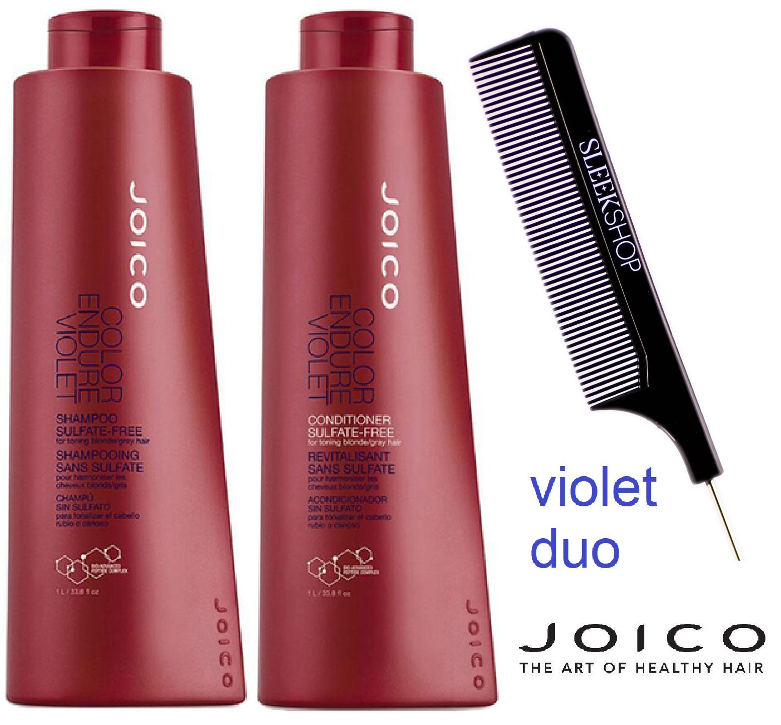 Joico Color Endure VIOLET Shampoo & Conditoner DUO Set for toning blonde or gray hair (with Sleek Steel Pin Tail Comb) (33 oz / 1000 ml - Large Liter DUO Kit) by Joico ColorEndure