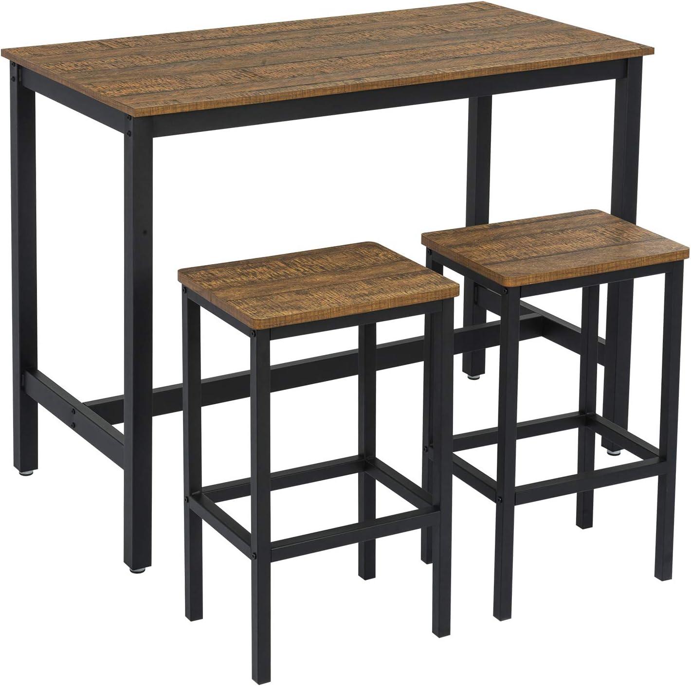 Meerveil Bar Table Set Bar Table and Chairs Iron Wood Kitchen Table and  Chairs Bar Table and Bar Stool Restaurant Bar Table Dark Wood