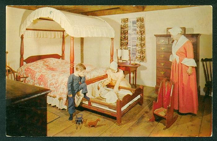 Postcard Richardson Bedroom Salt Box House Old Sturbridge Village M Achusetts