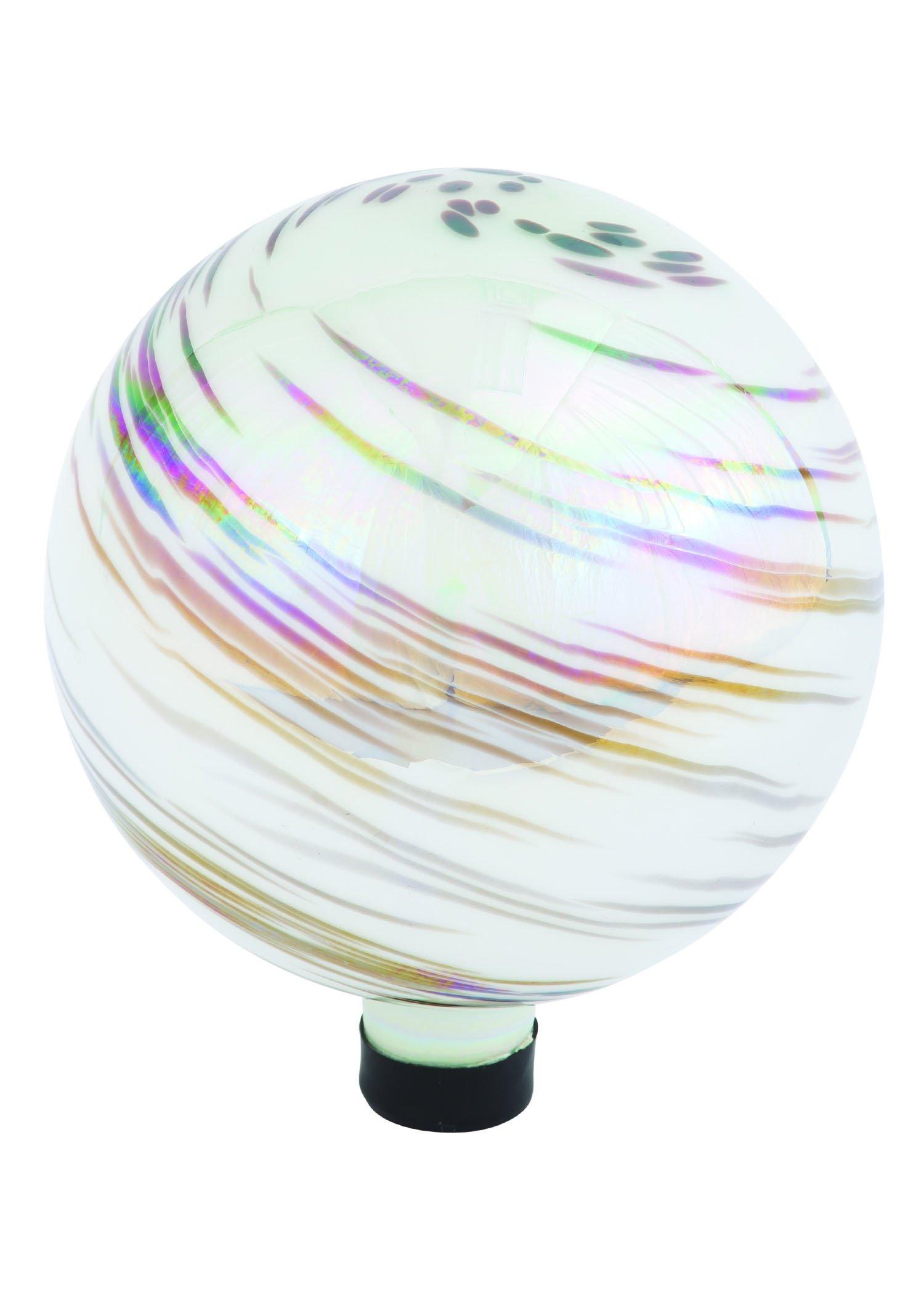 Russco III GD137203 Glass Gazing Ball, 10'', White Iridescent Swirl by Russco III