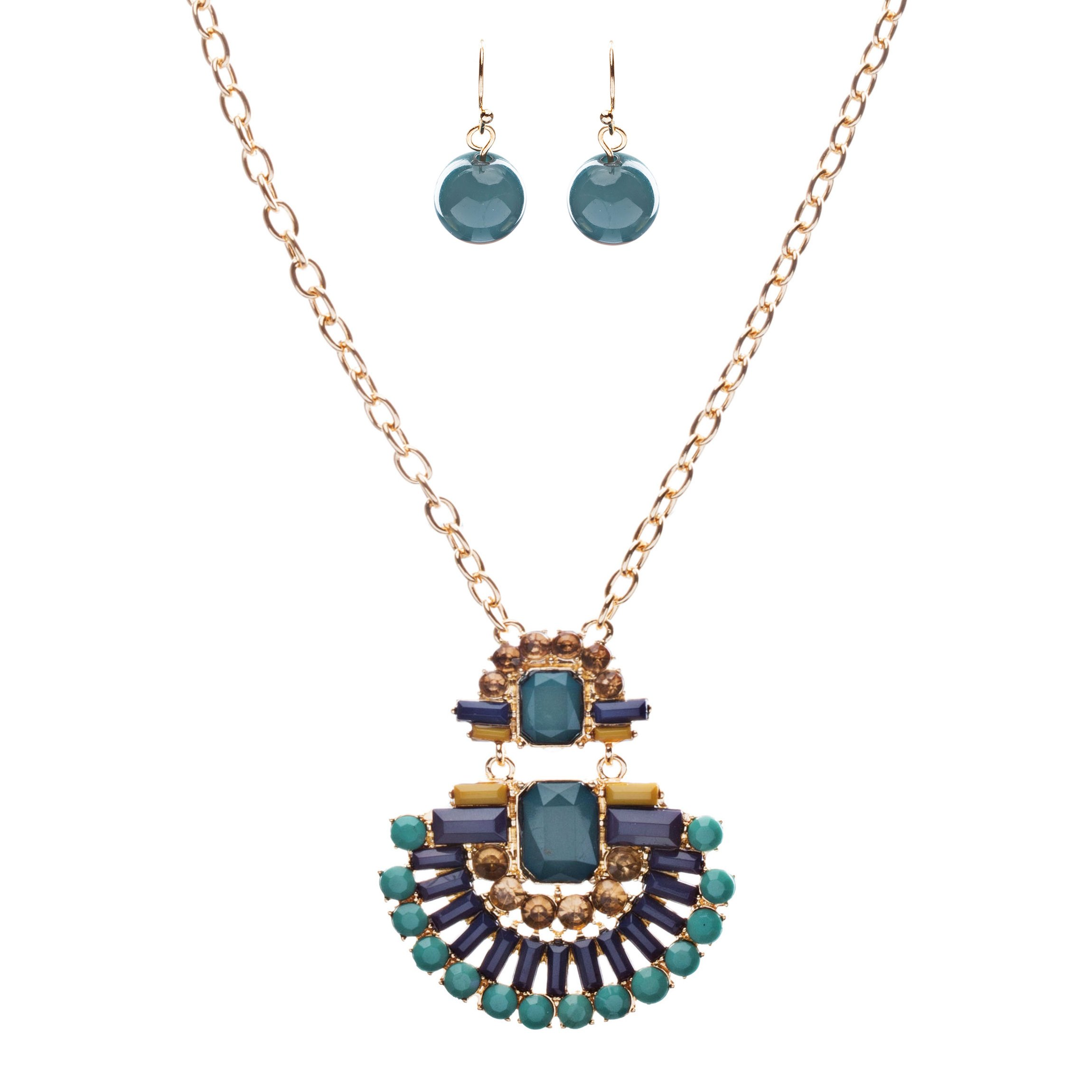 Unique Fashion Crystal Rhinestone Fan Charm Necklace And Earrings JN222 Green