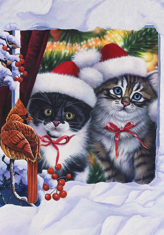 Toland Home Garden Kittens in Window 12.5 x 18 Inch Decorative Winter Chirstmas Kitty Cat Snow Garden Flag