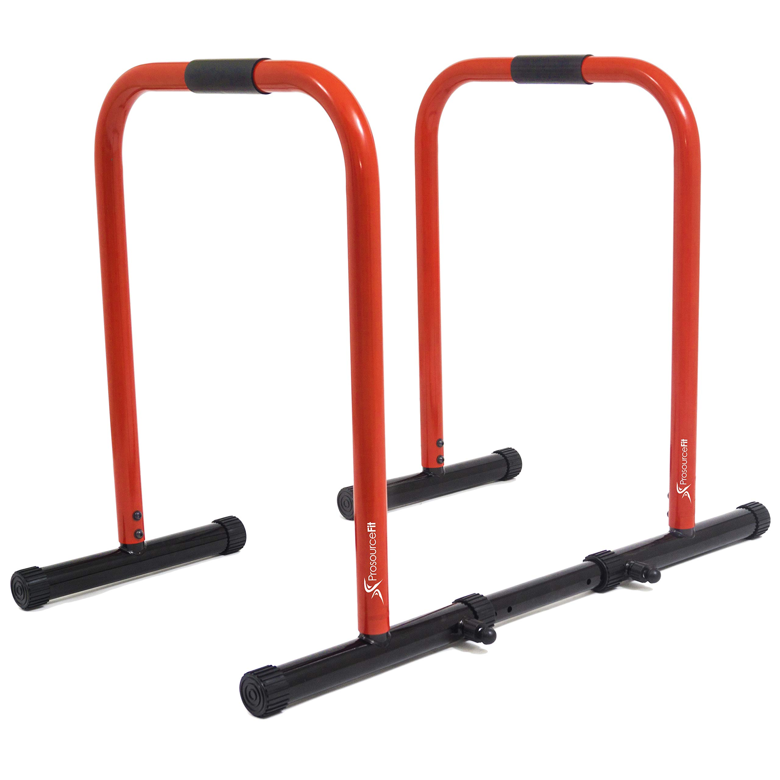 ProsourceFit Dip Stand Station, Heavy Duty Ultimate Body Press Bar with Safety Connector for Tricep Dips, Pull-Ups, Push-Ups, L-Sits, Red by ProsourceFit