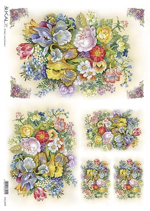 Accademia del Decoupage 32 x 45 cm carta di riso, fiori colorati ...
