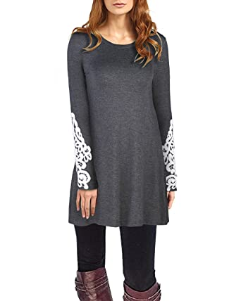 0967197d1f7 OUGES Women's Long Sleeve Lace Casual Loose Tunic Tops at Amazon ...