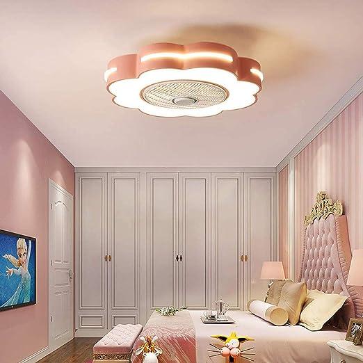 QJUZO Ventiladores de Techo Silencioso con Lámpara, Moderno LED Luz Mando a Distancia Regulable, Metal Invisible Fan Lámpara para Verano, Niños Lámpara, Ø58cm, 46W,Rosado