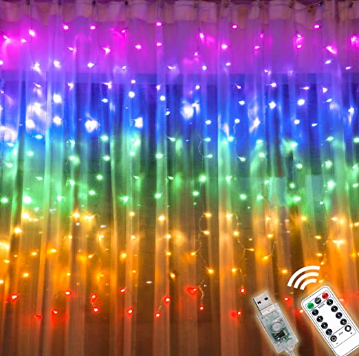 Image result for rainbow curtaiN USB lights